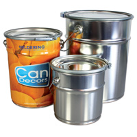 Conical paint cans with latch ring closure